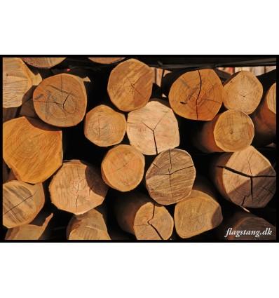 Afbarket og pudset stolpe i Robinie træ Ø10-12 cm.